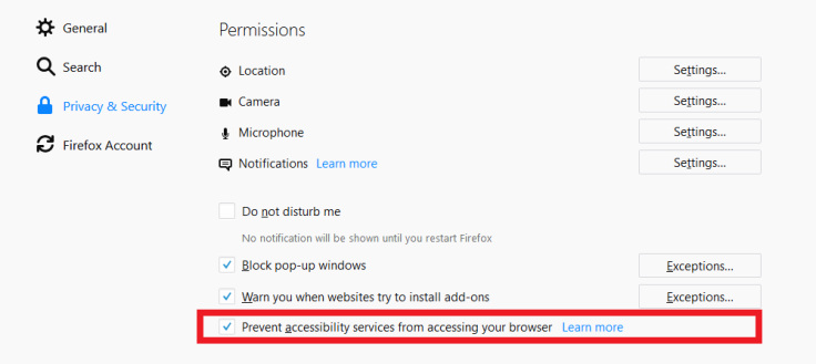 How to Disable Firefox Accessibility Services