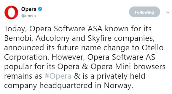 Opera rebrands