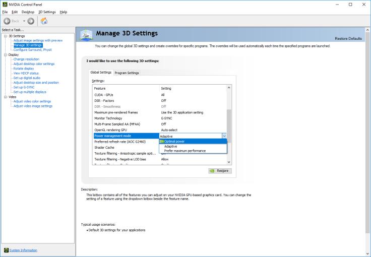 nVidia power management