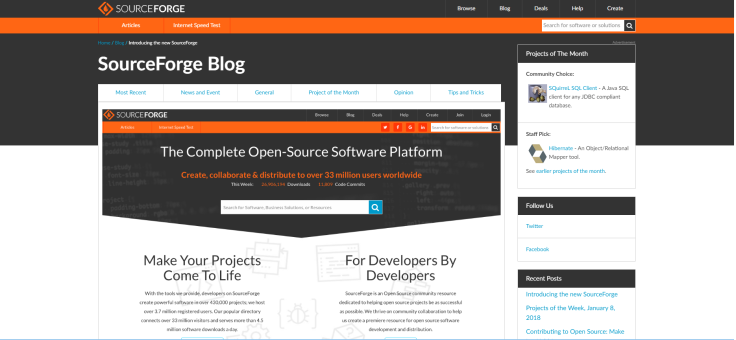 SourceForge 2018