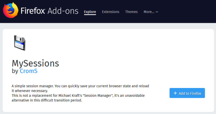 Firefox Replacement for Session Manager – CK's Technology News
