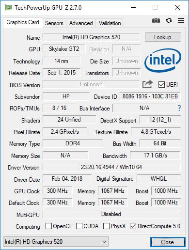 intel hd graphics 620 driver