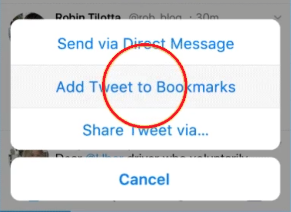 Twitter Bookmark feature