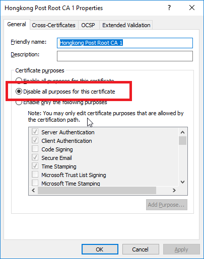 Disable certificates
