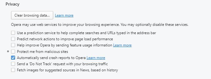 Opera Privacy