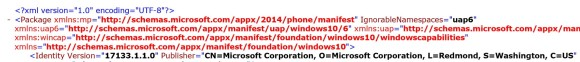 Windows 10 17133 XML