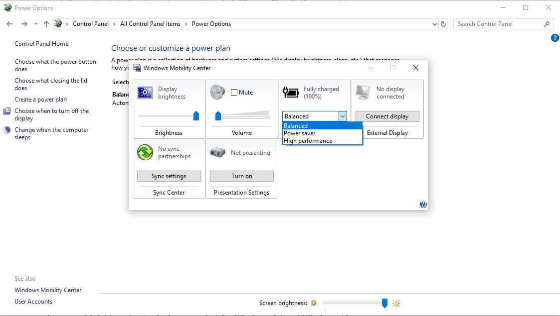 Windows 10 Mobility Center