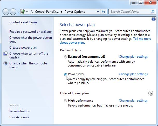 Windows 7 Power Plan