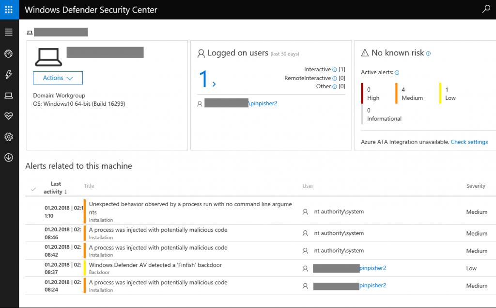 Windows Defender detects FinFisher