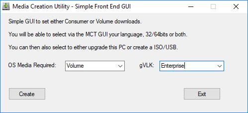 Windows Media Creation Tool GUI