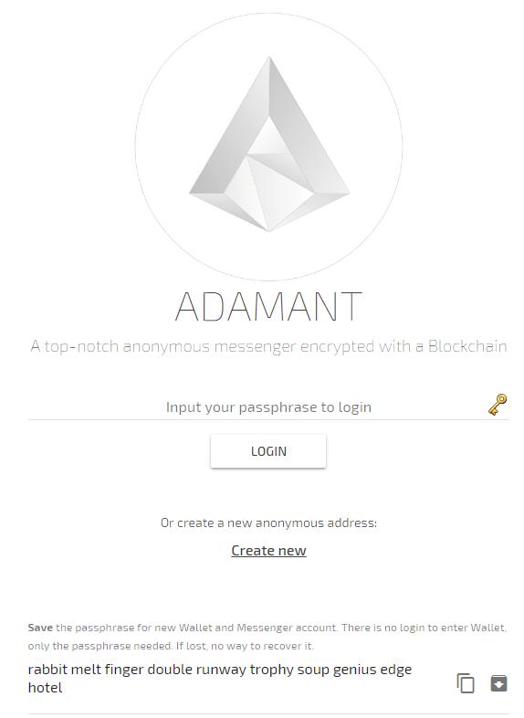ADAMANT using Messenger
