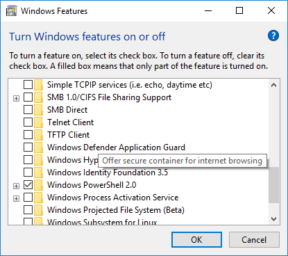 Windows Application Guard Windows 1803