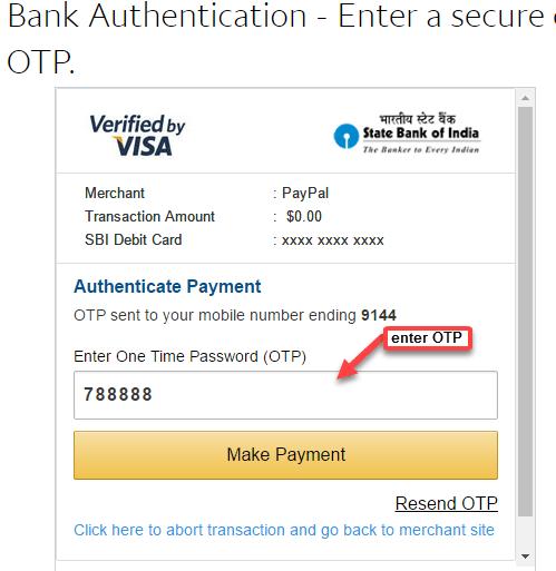 PayPal OTP